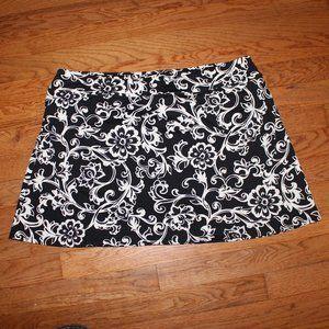 Lands' End High Waisted Swim Mini Skirt Bl/Wh 16L